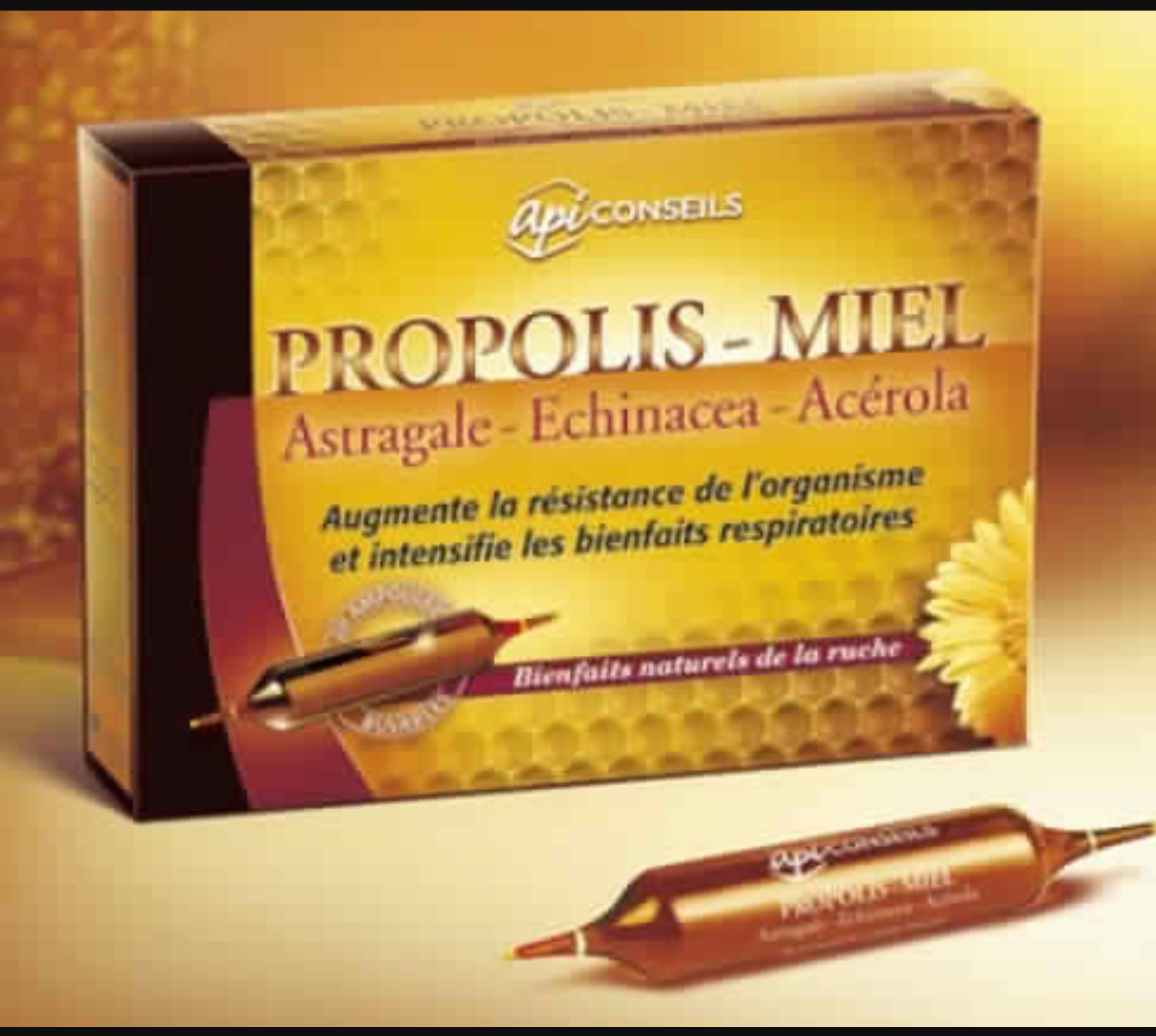 Propolis – Miel – Astragale  – Echinacea – Acérola